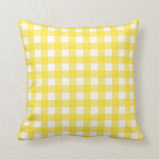 Yellow Checkered Rug: Yellow Gingham Checkered Pattern Throw Pillow