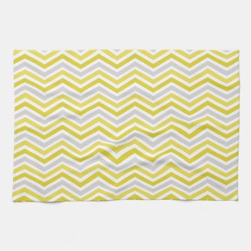 Black And White Chevron Hand Towels: Yellow, Gray, And White Chevron Stripes Hand Towel