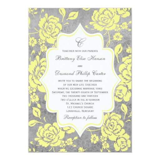 Yellow And Grey Wedding Flowers: Yellow Gray White Floral Damask Wedding Invitation