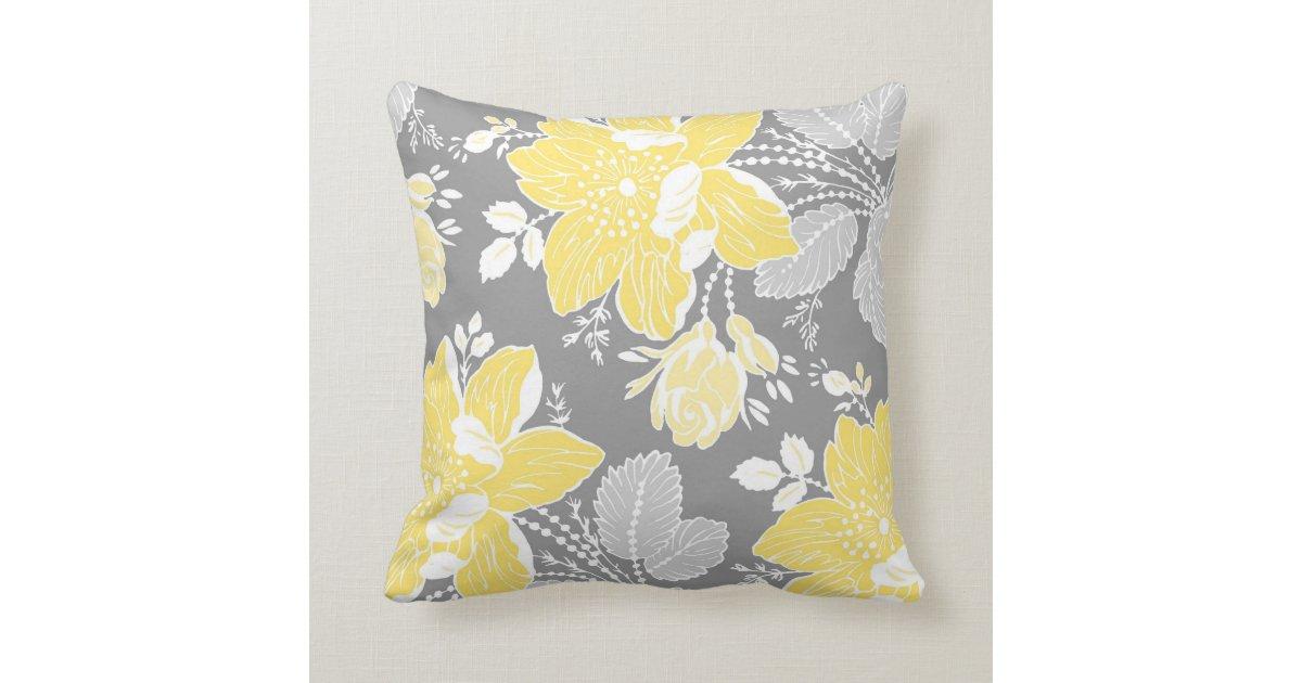 Yellow Gray White Floral Decorative Pillow