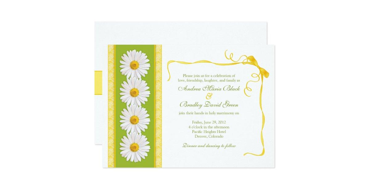 White And Green Wedding Invitations: Yellow Green White Shasta Daisy Wedding Invitation