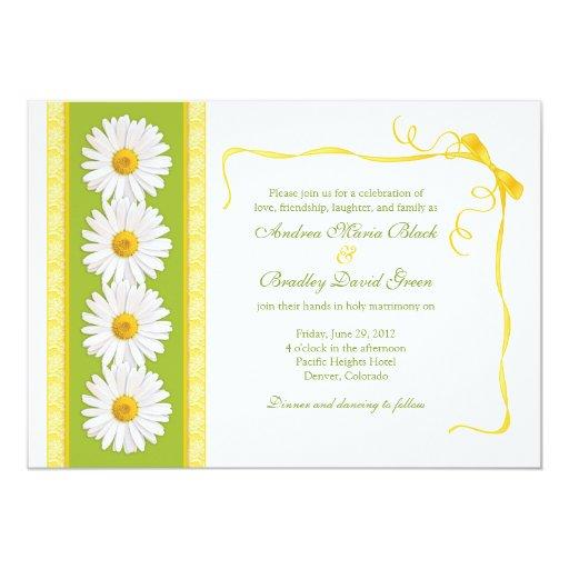 White Black Gold Daisy Wedding Invitation: Yellow Green White Shasta Daisy Wedding Invitation