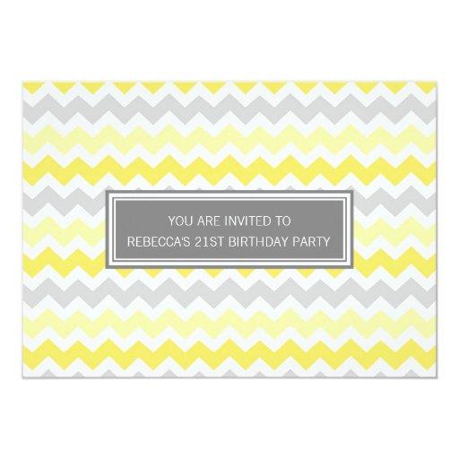 Yellow Grey Chevron 21st Birthday Party Invitation