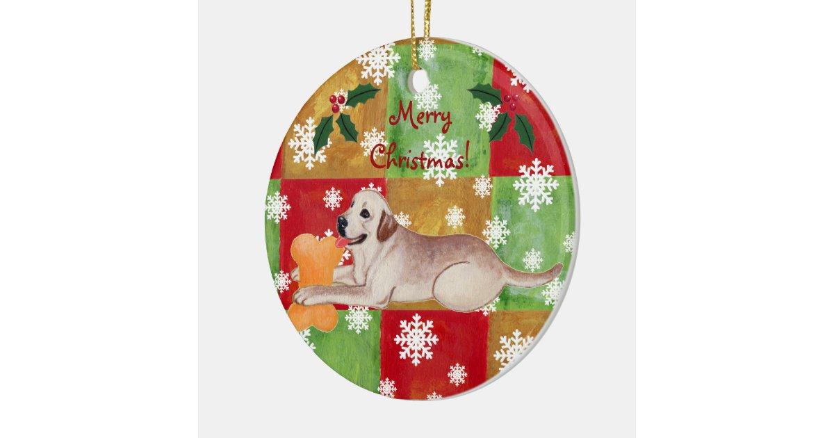 Yellow Labrador Christmas Mosaic Snowflake Ceramic ...