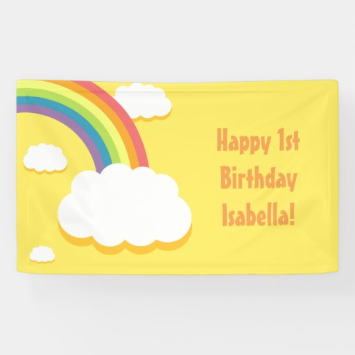 Yellow Rainbow Cloud Birthday Banner