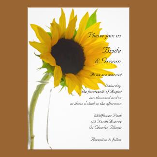 Yellow Sunflower on White Wedding Invitation
