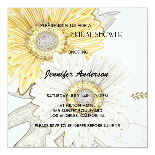 Yellow & White Gerber Daisy Bridal-Wedding Shower