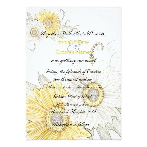 White Daisy Wedding Invitation: Yellow & White Gerber Daisy Swirl Wedding Invites
