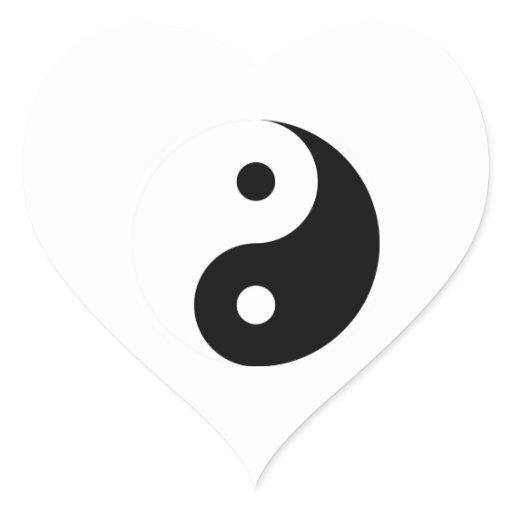 Taoism Symbols Dragon: Yin Yang Heart Symbol, Taoism Heart Sticker