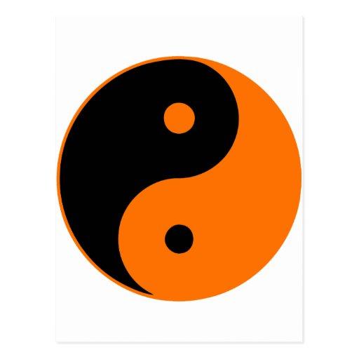 Taoism Symbols Dragon: Yin Yang Ying Taoism Sign Chinese Taijitu Orange Postcard