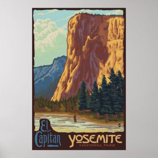 Yosemite Retro Poster El Capitan: Yosemite National Park, CA - El Capitan Poster