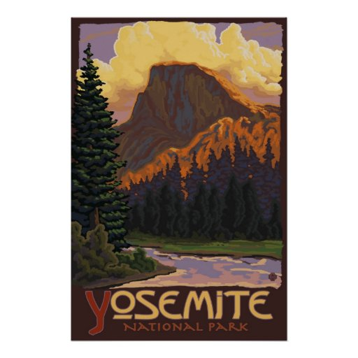 Yosemite National Park Poster: Yosemite National Park - Half Dome Travel Poster