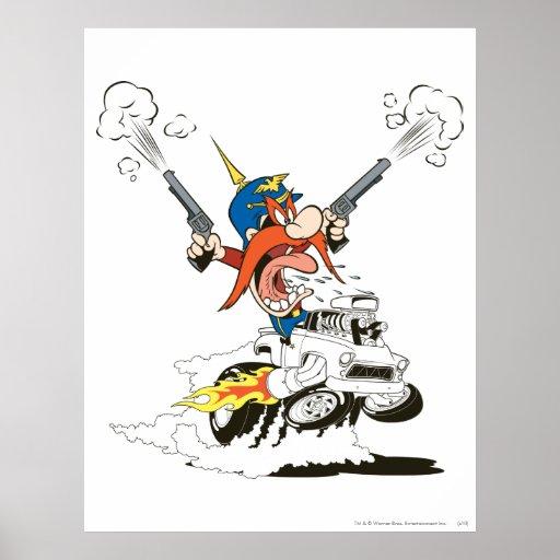 Yosemite Sam Guns Firing Poster