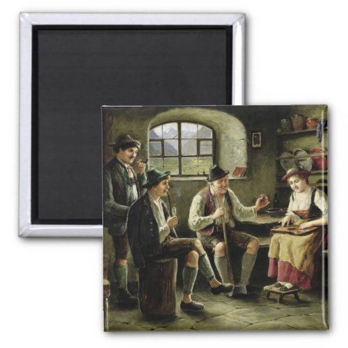 Young Woman Playing a Zither by Carl Ostersetzer 2-inch Square Magnet