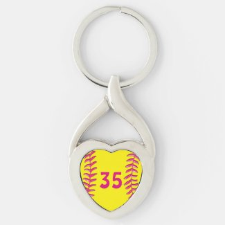 Your Jersey Number Heart Softball Keychains Silver-Colored Twisted Heart Keychain
