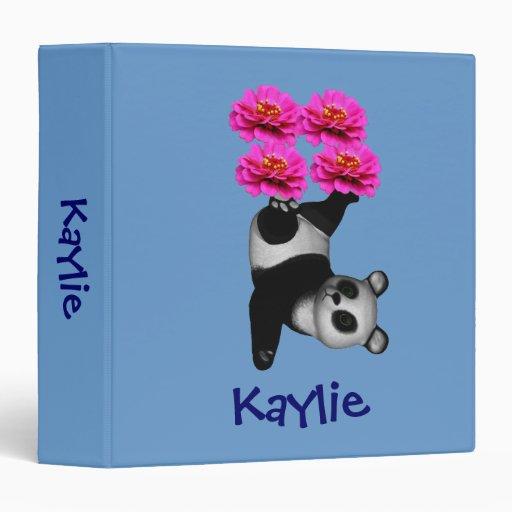 Your Name Cute Panda School Binder