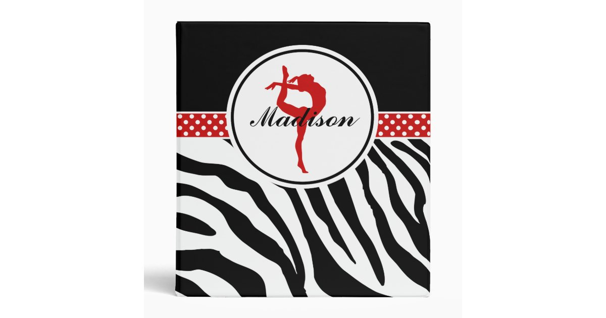 Your Name Zebra Print Gymnastics with Red Details Binder ...