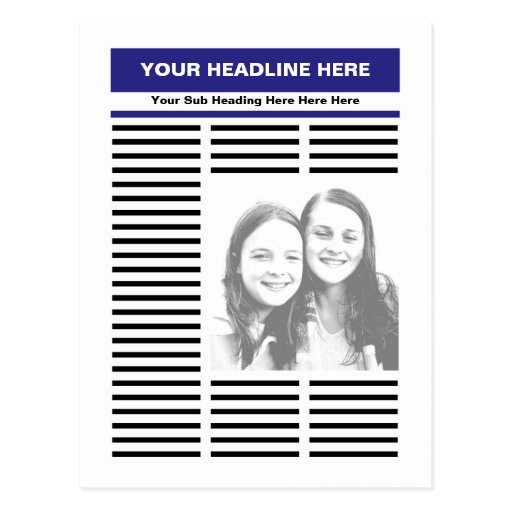 Your newspaper postcard zazzle for Create your own newspaper template