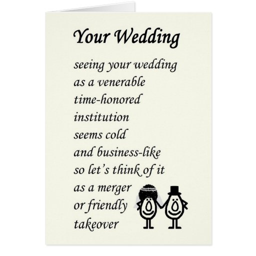 Your Wedding A Funny Poem Cards R82a5752a2ea1438d842bc70802f5ca Xvuat 8byvr 512