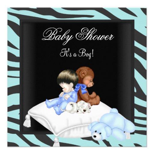 "Zebra Baby Shower Boy Blue Black Crown Prince 5.25"" Square ..."