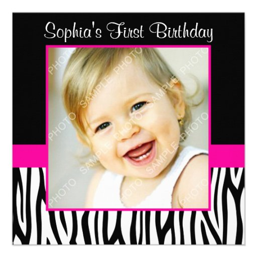 Pink Zebra Print Girls 1st Birthday Invitation: Zebra Hot Pink Girls Photo 1st Birthday Party 5.25x5.25