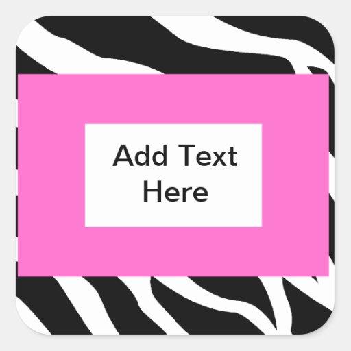 zebra pink white template square sticker zazzle. Black Bedroom Furniture Sets. Home Design Ideas