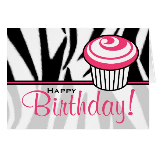 Zebra Print Birthday Card With Pink Cupcake