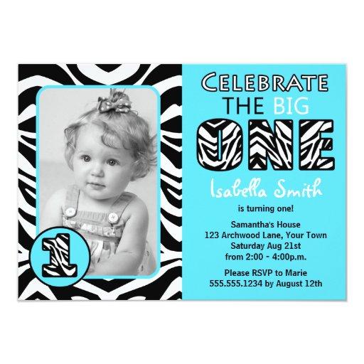 Zebra Print Blue First Birthday Card