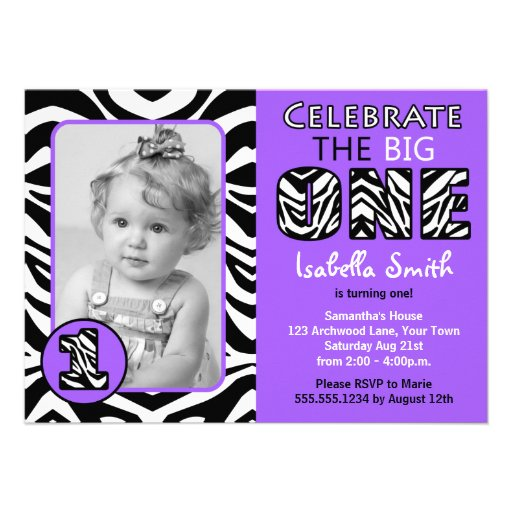 Pink Zebra Print Girls 1st Birthday Invitation: Zebra Print Purple Girls First Birthday 4.5x6.25 Paper