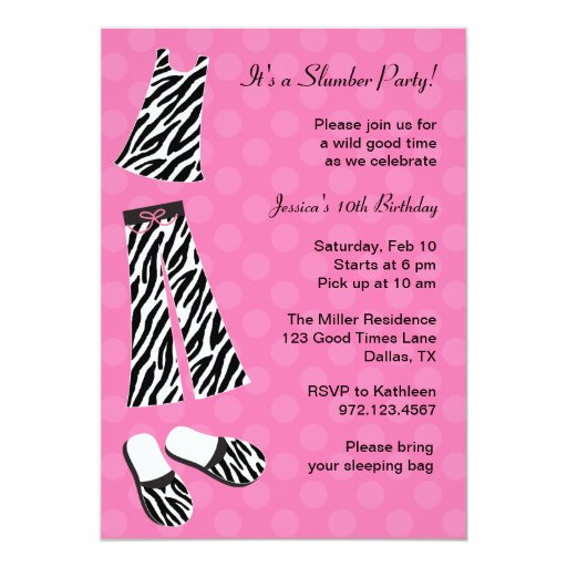 leopard print invitations templates - zebra print slumber party invitations zazzle