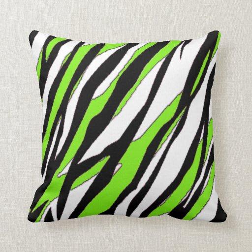 zebra stripes lime green throw pillow zazzle. Black Bedroom Furniture Sets. Home Design Ideas