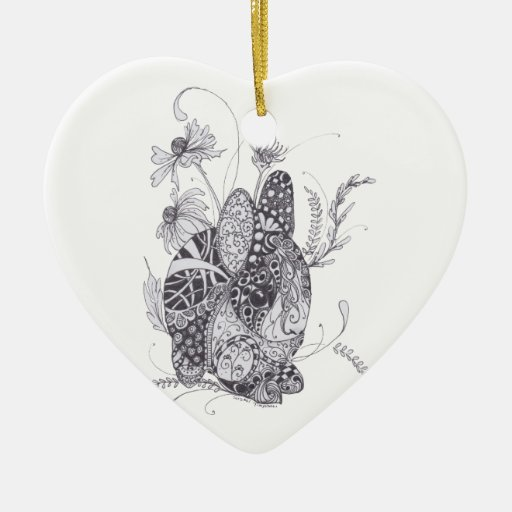 Bunny Rabbit Double-Sided Heart Ceramic Christmas Ornament ...