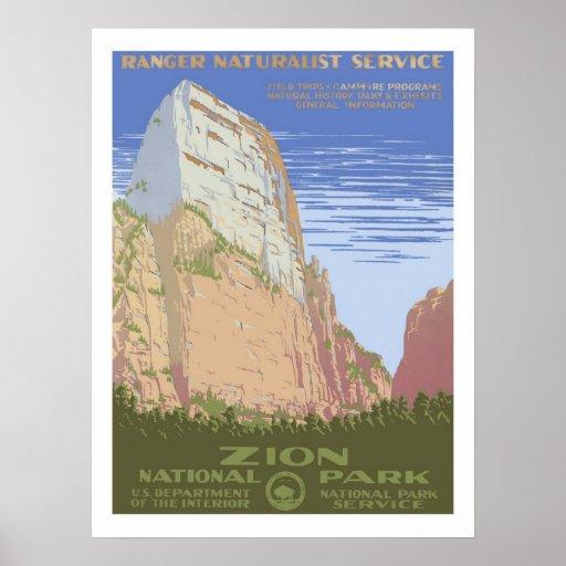 Retro National Park Posters: Zion National Park Vintage Travel Poster