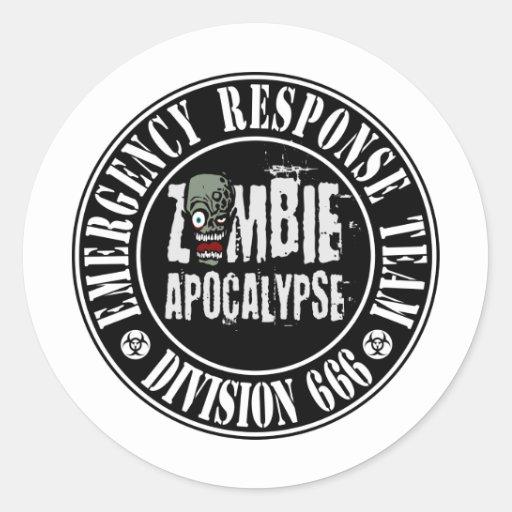 Zombie Apocalypse Response Team Logo Classic Round Sticker ...