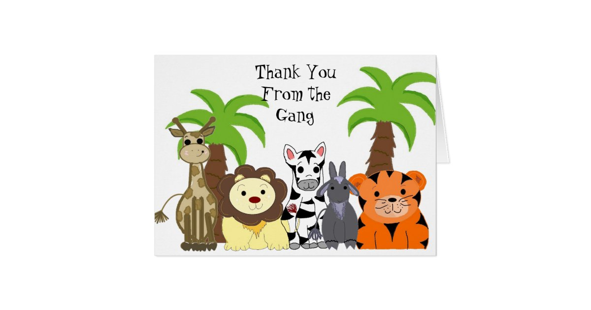 Zoo Animal Thank You Card Zazzle