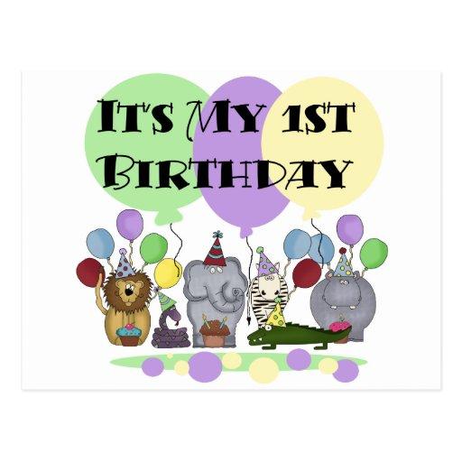 Zoo Animals 1st Birthday Tshirts And Gifts Postcard