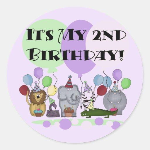 Zoo Animals 2nd Birthday Tshirts And Gifts Sticker