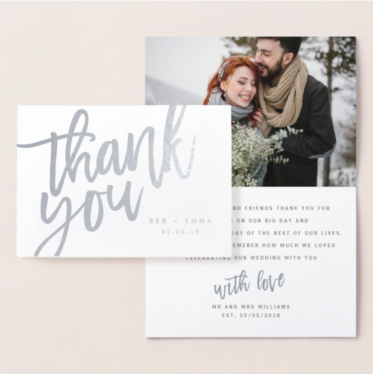 Wedding thank you card with photograph template and real foil